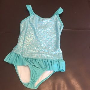 Girls one piece teal bathing suit. NWT
